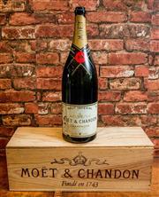 Sale 8420A - Lot 69 - A large decorative bottle of Moet & Chandon with wooden case, bottle measures 48cm high, wooden case measures 54cm long x 19cm deep...