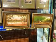Sale 8622 - Lot 2074 - Leonard Schultz (2 works) - Peaceful Glades, VIC; Wallamba River, Tuncurry NSW , oils on canvas board, each 17.5 x 32.5cm & signed.