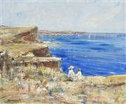 Sale 8704 - Lot 569 - Walter John Beauvais (1942 - ) - Picnic at Watsons Bay 50 x 60cm