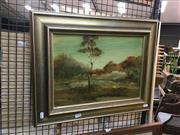 Sale 8711 - Lot 2048 - Norman Robbins - Bush Scene with Two Figures oil on board, 28.5 x 39.5cm, signed lower left -