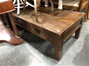 Sale 8834 - Lot 1095 - Brown Oak Coffee Table with Two Drawers