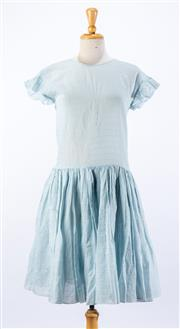 Sale 8891F - Lot 5 - A Sara Lanzi oversized, light blue subtle pinstripe flared dress with fluted cap sleeves, marked size small
