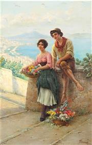 Sale 9013 - Lot 564 - Ferranti Carlo (1840 - 1908) - Courting Couple Overlooking a Harbour 81.5 x 50.5 cm (frame: 99 x 68 x 5 cm)