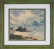 Sale 9053 - Lot 2073 - William Golding (1928 - ) - Storm Approaching the Headland, Port Macquarie, 1972 31.5 x 36.5 cm (frame: 52 x 58 x 3 cm)