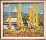 Sale 9041 - Lot 2012 - George Crossley  Autumn Poplars and Country Cottage, 1960s  oil on board, 64 x 53cm (frame) signed lower left