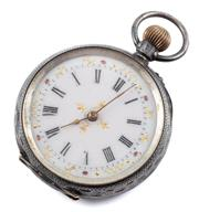 Sale 9074 - Lot 388 - A SWISS 935 SILVER LADYS OPEN FACE POCKET WATCH; white dial, Roman numerals, stem wind, push pin at one oclock, case diam. 38mm, w...