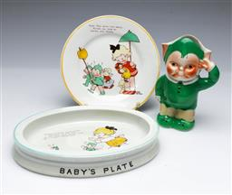 Sale 9093P - Lot 80 - Shelley Mabel Lucie Attwell Nursery Ware Baby Bowl (21cm), Plate (17cm) and Novelty Jug (Restored) 14.5cm.