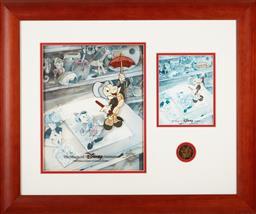 Sale 9097H - Lot 96 - A Walt Disney framed presentation featuring Jiminy Cricket  64 x 64cm
