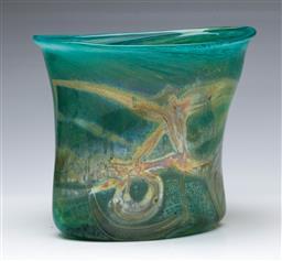 Sale 9093 - Lot 56 - A Samuel J. Herman Signed Blue Art Glass Vase with Iridescent Tones (H18cm)