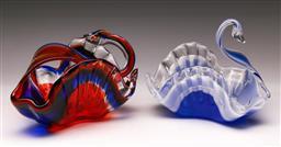 Sale 9114 - Lot 52 - Harlequin pair of figural glass handkerchief vases (L:18.5cm)