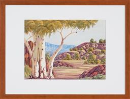 Sale 9191H - Lot 33 - CLEM ABBOTT (1939 - 1989) West MacDonnell Ranges watercolour 35.5 x 47.5cm (frame 59 x 77 cm) signed lower right