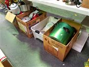 Sale 8582 - Lot 2188 - 4 Boxes of Kitchenwares incl Tin Bread Bin, Kettles, Plates etc