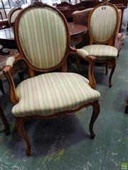 Sale 8634 - Lot 1075 - Set of Four French Style Beech Chairs, comprising two arm & two side chairs, with light green/ gold striped upholstery