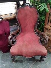 Sale 8700 - Lot 1073 - Caved Mahogany Armchair on Cabriole Legs