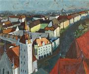 Sale 8722A - Lot 5021 - Edward Cameron (C20th) - Overlooking the Town 60 x 72.5cm