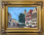 Sale 8961 - Lot 2049 - Artist Unknown Quaint European Town Scene oil on board, 48 x 58cm (frame), signed