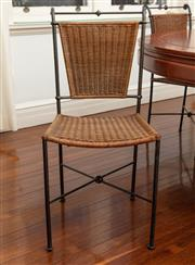 Sale 8990H - Lot 35 - A set of twelve wrought iron and wicker backed dining chairs