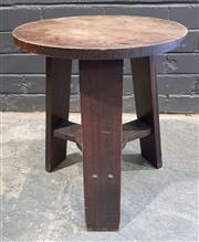 Sale 8988 - Lot 1075 - Oak Arts and Crafts Stool (h:45 x d:38cm)