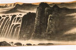 Sale 9110 - Lot 96 - A long Chinese scroll of a Mountain and river scene (L: 358cm)