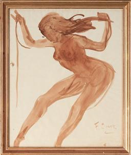 Sale 9125A - Lot 5057 - Fernand Claver (1918 - c1961) - Nude 39.5 x 32.5 cm (frame: 44 x 37 x 2 cm)