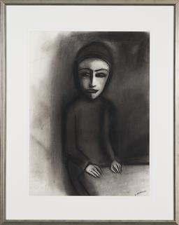Sale 9191H - Lot 93 - ROBERT DICKERSON (1924 - 2015) Pensive charcoal on paper 75 x 55 cm (frame 103 x 82 cm) signed lower right