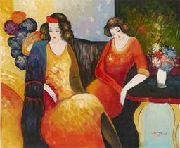 Sale 9212A - Lot 5100 - S. JONES Women in Salon (After Tarkay) acrylic on canvas 49 x 60 cm (frame: 79 x 100 x 4 cm) signed lower right