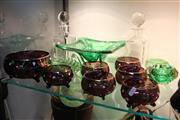 Sale 8304 - Lot 78 - Crystal Pair of Decanters with Other Crystal incl. Green Glass Centrepiece