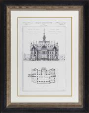 Sale 8342A - Lot 81 - French Architectural study, Hotel de ville de Calais, in black and gilt frame, 82 x 64cm inc. framing