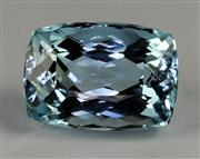 Sale 8357 - Lot 398 - AN UNSET 7.64CT AQUAMARINE; rectangular cushion cut of medium blue colour, with lab cert.