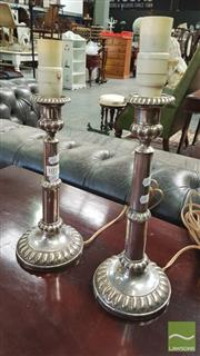 Sale 8402 - Lot 1035 - Pair of Silver Plate Telescopic Style Candlestick Lamps