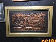 Sale 8750 - Lot 2067 - Framed Pressed Copper Artwork