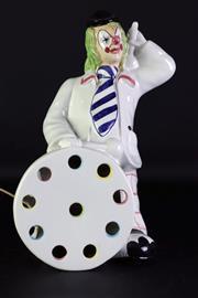 Sale 8968 - Lot 18 - A Hand Painted Porcelain Clown Figural Table Lamp (H 38cm, working)