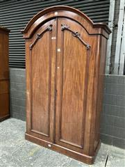 Sale 9068 - Lot 1029 - Victorian Mahogany Wardrobe, stamped to back T & F Smith, with arched top & two conforming doors (237 x w:1456 x d:60cm)
