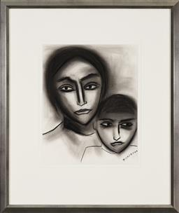 Sale 9191H - Lot 61 - ROBERT DICKERSON (1924 - 2015) Mother & Child charcoal on paper 36 x 29 cm (frame 65 x 55 cm) signed lower right
