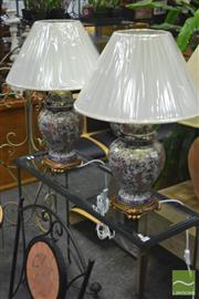 Sale 8289 - Lot 1046 - Pair of Satsuma Lamps with Crackle Glaze Finish (4108)