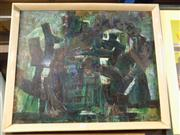 Sale 8437 - Lot 2064 - Frida Cochrane Green Abstract, 1963, enamel on board, 63.5  x 79cm, signed lower right