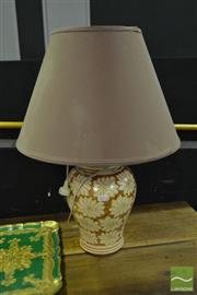 Sale 8520 - Lot 1075 - Pair of Floral Hand Painted Table Lamps