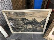 Sale 8711 - Lot 2071 - John Seage - European Townscape charcoal on paper, 51 x 63cm, signed and dated lower centre -