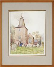 Sale 8821 - Lot 514 - Harold Herbert (1891 - 1945) - Untitled, 1924 (C19th Church Scene) 37 x 29.5cm