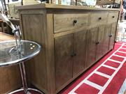 Sale 8822 - Lot 1215 - Elm Parquetry Sideboard with Three Drawers & Six Doors (H: 90.5 W: 200 D: 45cm)