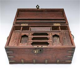 Sale 9093P - Lot 43 - Small Indian Rosewood Chest with Brass Mounts and Fitted Inside, 20 x 24 x 42cm.