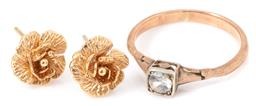 Sale 9149 - Lot 309 - A PAIR GOLD EARRINGS AND A RING; 14ct rose studs, width 9mm, wt. 1.60g, and vintage 9ct ring set with a round cut white sapphire, si...