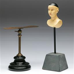 Sale 9148 - Lot 9 - Vintage brass shoemakers stand together with a figural sculpture (H:30.5cm)