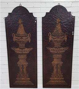 Sale 9191 - Lot 1087 - Pair of carved timber wall panels (h:169 x w:61cm)
