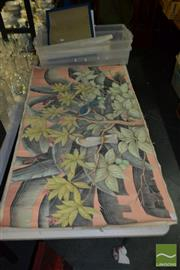 Sale 8522 - Lot 2066 - Thai Painting on Canvas of a Parrot & Other Birds in Tree Plus 3 Other Paintings
