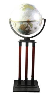 Sale 8827D - Lot 21 - World Globe on Timber and Iron Base Stand (H 118cm)