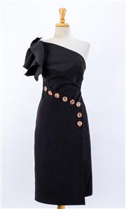 Sale 8891F - Lot 96 - An Acler black off-the-shoulder evening dress with resin buttons, approx size 8/10