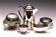 Sale 9078 - Lot 129 - A group of silver plated wares including caviar bowl, gravy boat and tankard