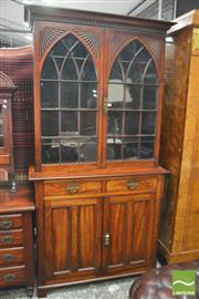 Sale 8390 - Lot 1011 - Late Victorian Possibly Walnut Bookcase, in the Gothic style, with astragal doors having bat-wing spandrels, above two drawers & two...