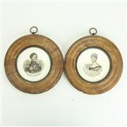 Sale 8393B - Lot 68 - Early Plaques Set in Alabaster Frames